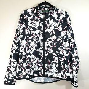 RALPH LAUREN black floral zip front active jacket